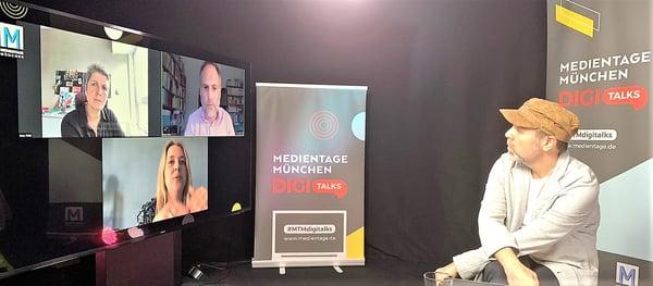 Moderator Michael Praetorius (r.) im Gespräch mit Ines Pohl (oben), Klaus Meier und Martina Franzen.
